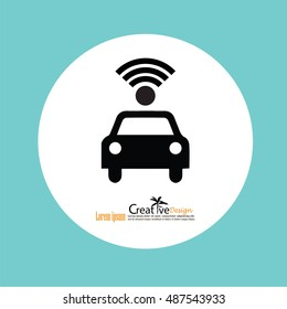 Wifi in car icon.car with wifi sign.vector illustration.