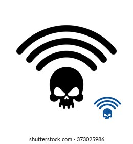 Wifi Death. wirelessly transmission of doom. Remote access deaths. Wi-fi Wireless LAN skull. Wi fi Icon murder. Black information Waves coming from  head of skeleton