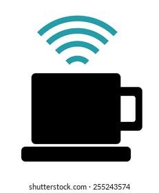 Wi-fi design over white background, vector illustration.