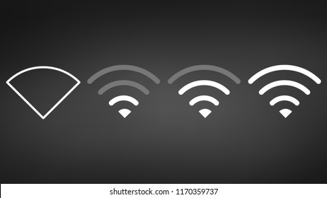 Wi-Fi different signal levels. Wireless signal strength indicator icon. Sign for remote internet access. Vector illustration.