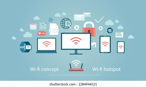 Wi-fi hotspot Concept of wireless internet access Set of computer and internet equipment devices office accessories social media symbols cybersecurity communication connection Vector illustration