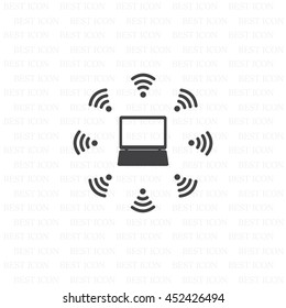 WiFi icon around the computer