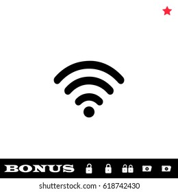 Wi-Fi icon flat. Black pictogram on white background. Vector illustration symbol and bonus button open and closed lock, folder, star