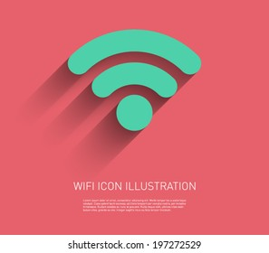 Wifi icon illustration with flat design and long shadow. Internet, signal, network. Clean and modern style