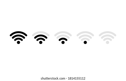 Wifi icon set. Mobile signal strength indicator template of Wifi. Vector on isolated white background. EPS 10