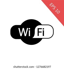 Wifi icon, symbol, sign. White and black icon. EPS 10, Premium. Wireless.