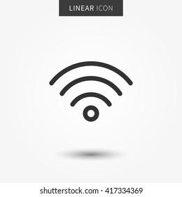 Wifi-Symbol, Vektorgrafik. Isolierte WiFi Hotspot Symbol. Grafikdesign für Internetsignale. Piktogramm für drahtlose Verbindung Symbol für die Wifi-Netzleitung. Wireless-Netzwerk-Outluine-Element.