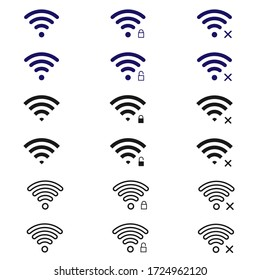 Wifi icon vector illustrator. 640x640 pixels with conect unconect and secure symbol