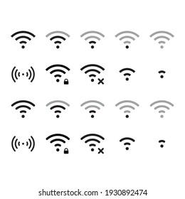 Wifi icon. Vector wi-fi signal black wireless icons set