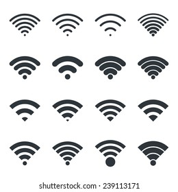 Wifi icon. Vector wi-fi signal black wireless icons set