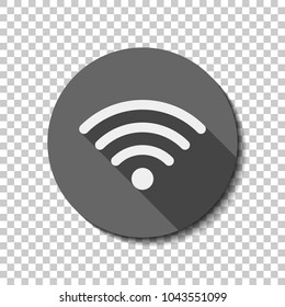 wi-fi icon. White flat icon with long shadow in circle on transparent background