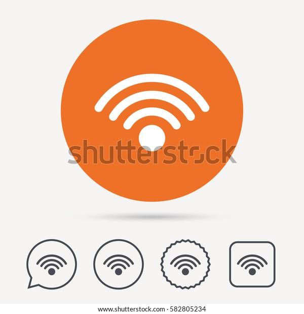 Wifi icon. Wireless internet sign. Communication technology symbol. Circle, speech bubble and star buttons. Flat web icons. Vector