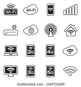 Wifi Icons. Line With Fill Design. Vector Illustration.
