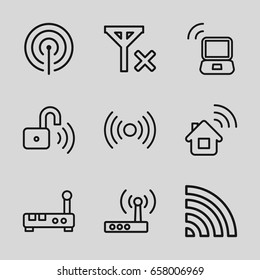 Wifi icons set. set of 9 wifi outline icons such as wi-fi, opened security lock, laptop signal, signal, router, no signal