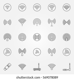 Wi-Fi icons set - vector wireless technology concept signs or logo elements in thin line style