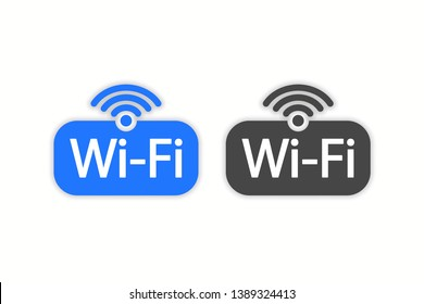 Wifi icons, symbols with shadow. Vector