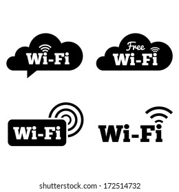 Wifi icons. Wifi symbols. Wireless Network cloud icons. Wifi zone. Vector illustration.