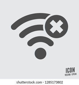 Wifi icon.Wireless connections vector sign.No wireless connections.No signal illustration for graphic design, web and mobile platforms.