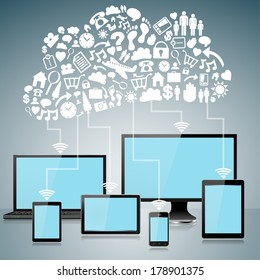 Wifi Internet and Cloud Computing concept - EPS10 Grouped and Layered, transparencies