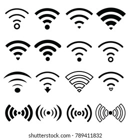 Wifi internet connection and streaming vector set with 16 icons smooth regular and bold lining for internet cafe website businesses or blogs eps10 black and white