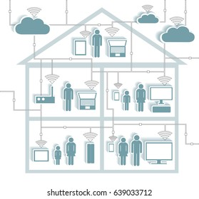Wifi Internet Connectivity concept - Cloud Computing Paper Cutout Stickers with Cutaway Residential House - EPS10 Grouped and Layered, contains blends