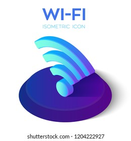 Wi-Fi Isometric Icon. 3D Isometric Wi-Fi Sign. Created For Mobile, Web, Decor, Print Products, Application. Perfect for web design, banner and presentation. Vector Illustration.