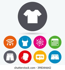 Wifi, like counter and calendar icons. Clothes icons. T-shirt and pants with shorts signs. Swimming trunks symbol. Human talk, go to web.