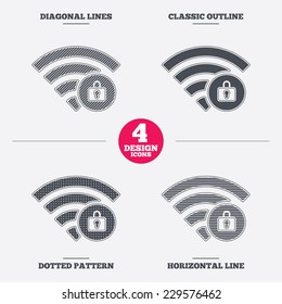 Wifi locked sign. Password Wi-fi symbol. Wireless Network icon. Wifi zone. Diagonal and horizontal lines, classic outline, dotted texture. Pattern design icons.  Vector
