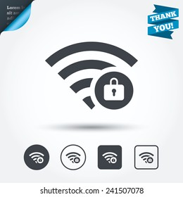 Wifi locked sign. Password Wi-fi symbol. Wireless Network icon. Wifi zone. Circle and square buttons. Flat design set. Thank you ribbon. Vector