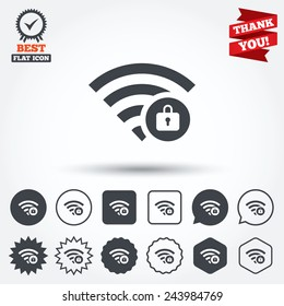 Wifi locked sign. Password Wi-fi symbol. Wireless Network icon. Wifi zone. Circle, star, speech bubble and square buttons. Award medal with check mark. Thank you. Vector