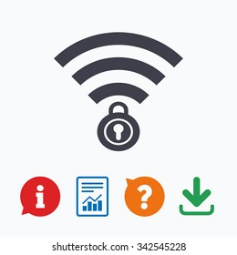 Wifi locked sign. Password Wi-fi symbol. Wireless Network icon. Wifi zone. Information think bubble, question mark, download and report.