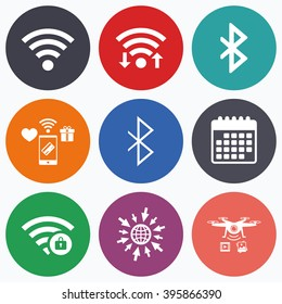 Wifi, mobile payments and drones icons. Wifi and Bluetooth icons. Wireless mobile network symbols. Password protected Wi-fi zone. Data transfer sign. Calendar symbol.