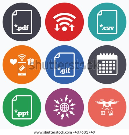 Wifi Mobile Payments Drones Icons Download Stock Vector