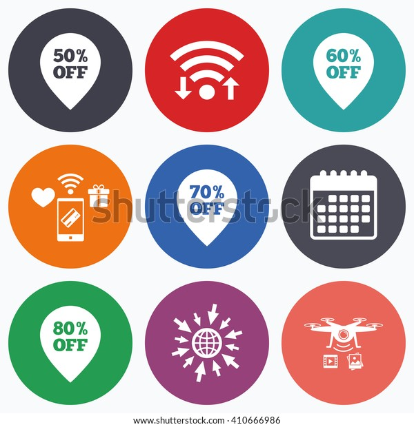 Wifi, mobile payments and drones icons. Sale pointer tag icons. Discount special offer symbols. 50%, 60%, 70% and 80% percent off signs. Calendar symbol.