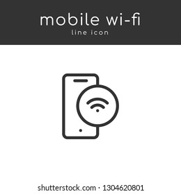 Wi-fi mobile vector line icon