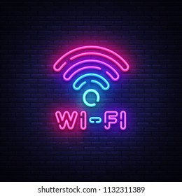 Wifi neon sign vector. Wifi symbol neon glowing letters shining, Light Banner, neon text. Vector illustration. Billboard