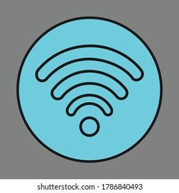 WiFi Network Ikon Vector. WiFi Ikon Vector. WiFi Button Vector. WiFi Line Art Vector Design
