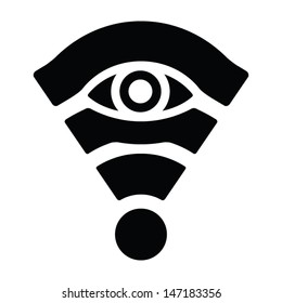 Wifi network privacy protection sign. All seeing eye. Vector icon.
