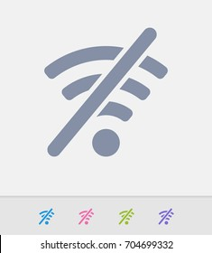 WiFi Off - Granite Icons. A professional, pixel-perfect icon designed on a 32x32 pixel grid and redesigned on a 16x16 pixel grid for very small sizes