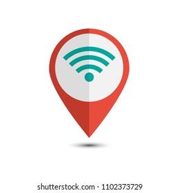 wifi pin location. wifi zone conection. flat design