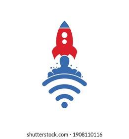 Wifi Rocket vector logo design. Wifi signal symbol and rocket design vector.