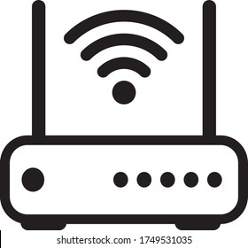 Wifi Router Icon In Trendy Design Vector Eps 10, fiber optic Internet, internet concept, speed test. Wireless and wifi icon or sign for remote internet access