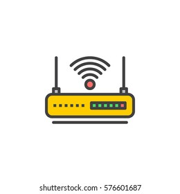 WIFI router line icon, filled outline vector sign, linear colorful pictogram isolated on white. Internet hotspot symbol, logo illustration
