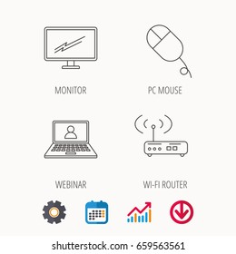 Wi-fi router, pc mouse and monitor tv icons. Webinar linear sign. Calendar, Graph chart and Cogwheel signs. Download colored web icon. Vector