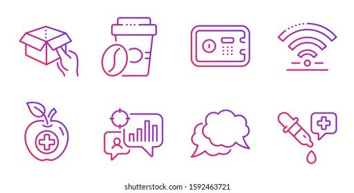 Wifi, Seo statistics and Medical food line icons set. Hold box, Chat message and Takeaway coffee signs. Safe box, Chemistry pipette symbols. Wireless internet, Analytics chart. Business set. Vector