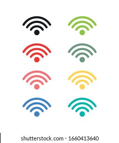 WI-Fi Set icon, Set of different wireless and wifi icons. Vector Illustration.