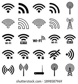 Wi-fi  set icon, logo isolated on white background