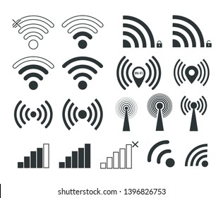 Wi-Fi. Set of wi-fi icons. Distribution of the Internet.
