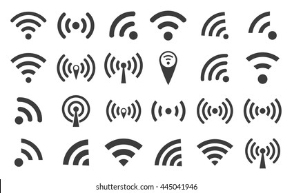 WI-FI set icons silhouettes and wireless connection airwaves isolated on a white background, vector illustration for web design EPS10