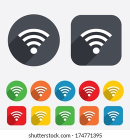 Wifi sign. Wi-fi symbol. Wireless Network icon. Wifi zone. Circles and rounded squares 12 buttons. Vector
